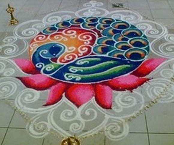 peacock rangoli for diwali
