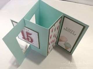 top view of handmade birthday Pop Out Swing Card from The Craft Spa .  delightful fun fold for display . large number die die cut from red glitter  papers .