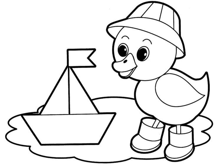 Раскраска для малышей -Утенок