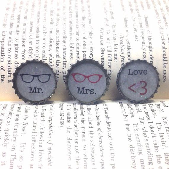 Nerdy Love Bottle Cap Magnet Set  by creativityismessy on Etsy, $6.00