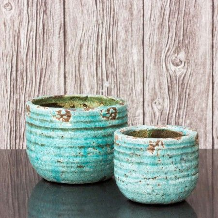 Set of 2 Turquoise Plant Pots - View All Home Decoration - Home Decoration - Home Accessories