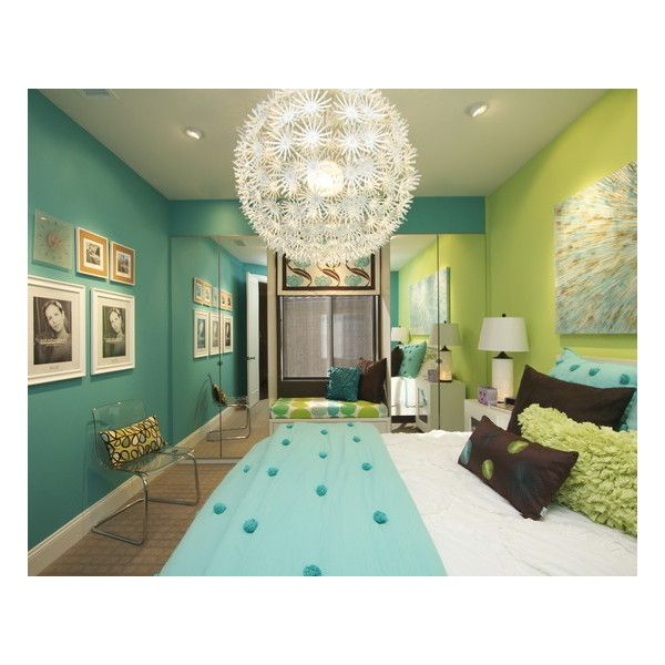 Une chambre bleu et verte