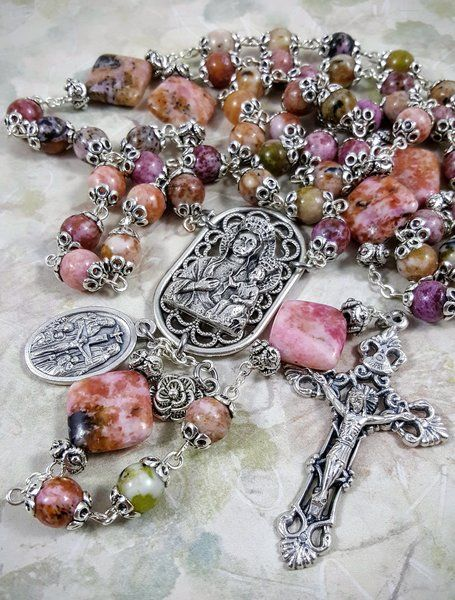 / pink jasper handcrafted rosary /