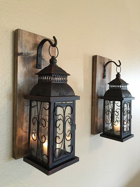 Lantern pair wall decor, wall sconces, lavatory decor, housewarming reward, wrought iron hook, rustic wooden boards, bed room decor, rustic residence