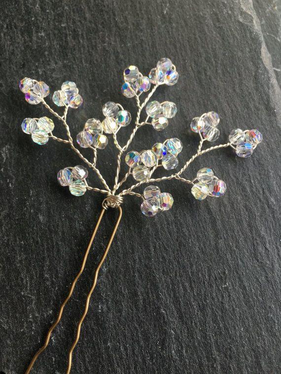 pearl hair pins gypsophila hair accessory by whirligigbridal