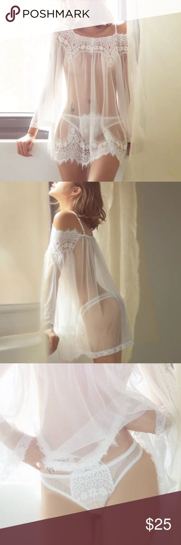 Gorgeous Nightwear Beautiful and attractive New fresh to your couple's life, stimulative design for you two  100% Brand New and High Quality  Color: White  Material: Lace   Size: S & M Intimates & Sleepwear