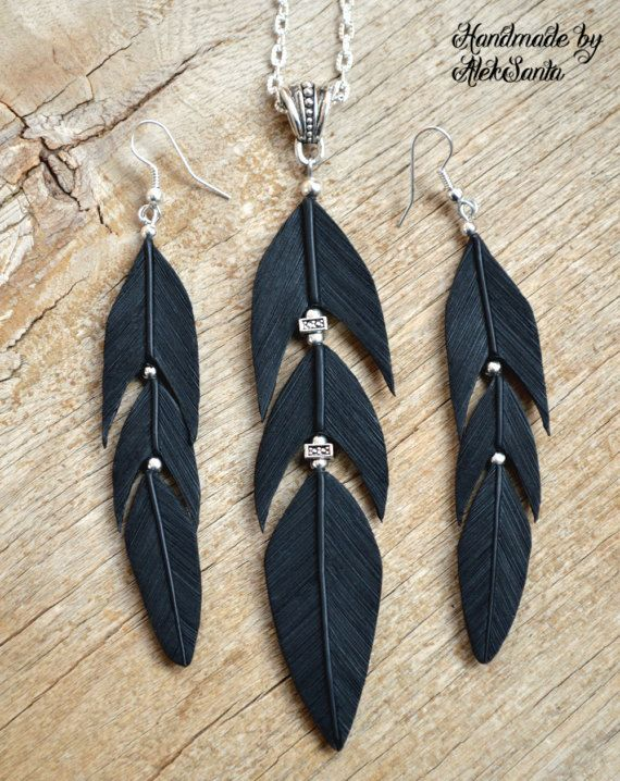 Black necklace Gothic jewelry Long dangle earrings Raven jewelry Raven necklace Feather jewelry Feat Allison McGreer