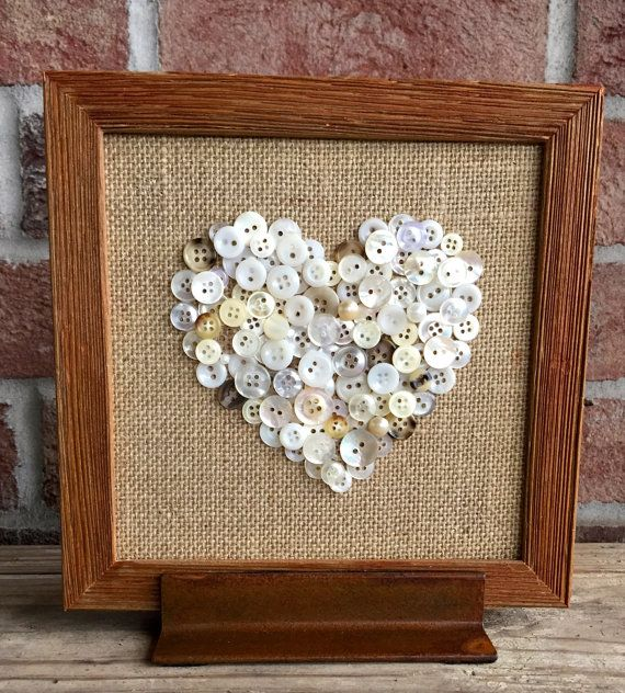 Button Art Button Heart Burlap Frame by TheYankeeBelle on Etsy