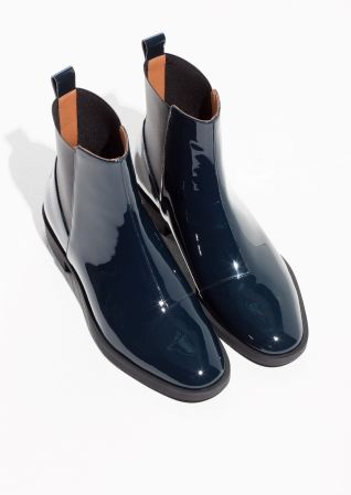 & Other Stories image 2 of Chelsea Lacquer Leather Boots in Indigo