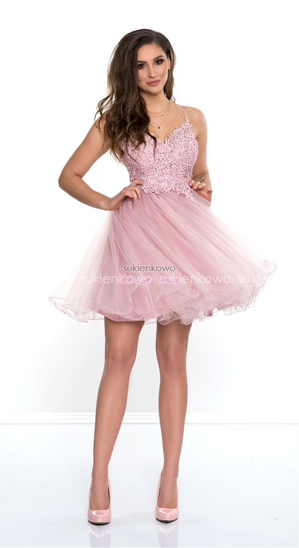 789b1a5931 Sukienkowo.com - DIVA - rozkloszowana sukienka z gipiurą różowa ...