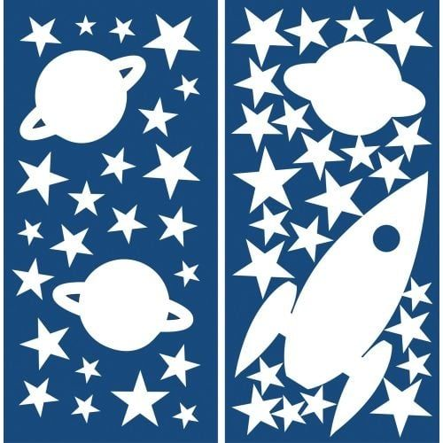 Brewster CR-77226 Kid's Rocket And Stars Glow In The Dark Wall Decals (Vinyl)