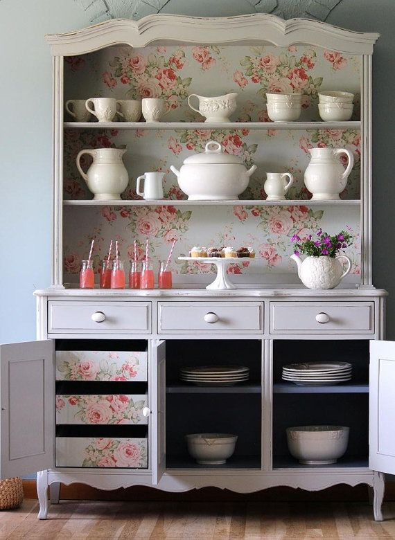 French country hutch china cabinet by LaVantteHome on Etsy
