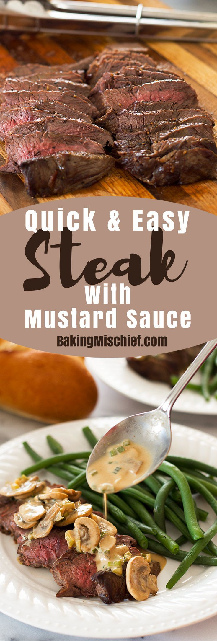 This Top Sirloin Steak with Mustard Sauce recipe is my go-to dinner for busy weeknights when I'm craving red meat! It's fast, healthy, and delicious. Recipe includes nutritional information. From http://BakingMischief.com
