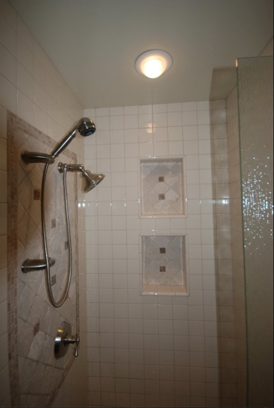 Biscuit Tile Shower With Tumbled Stone Accents Two