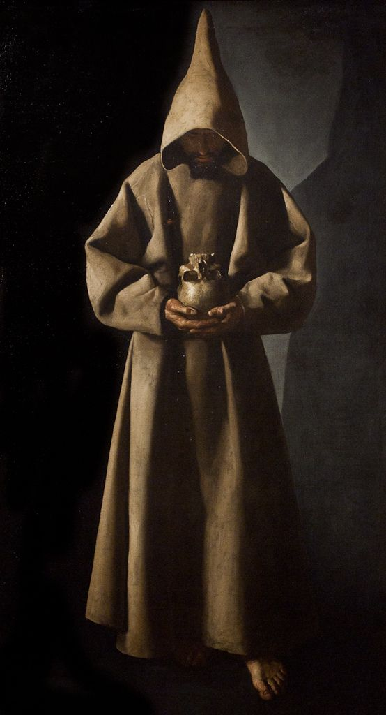 """Saint Francis of Assisi in His Tomb""  --  1630  --  Francisco de Zurbaran  --  Spanish  --  Oil on canvas  --  The Milwaukee Museum of Art"