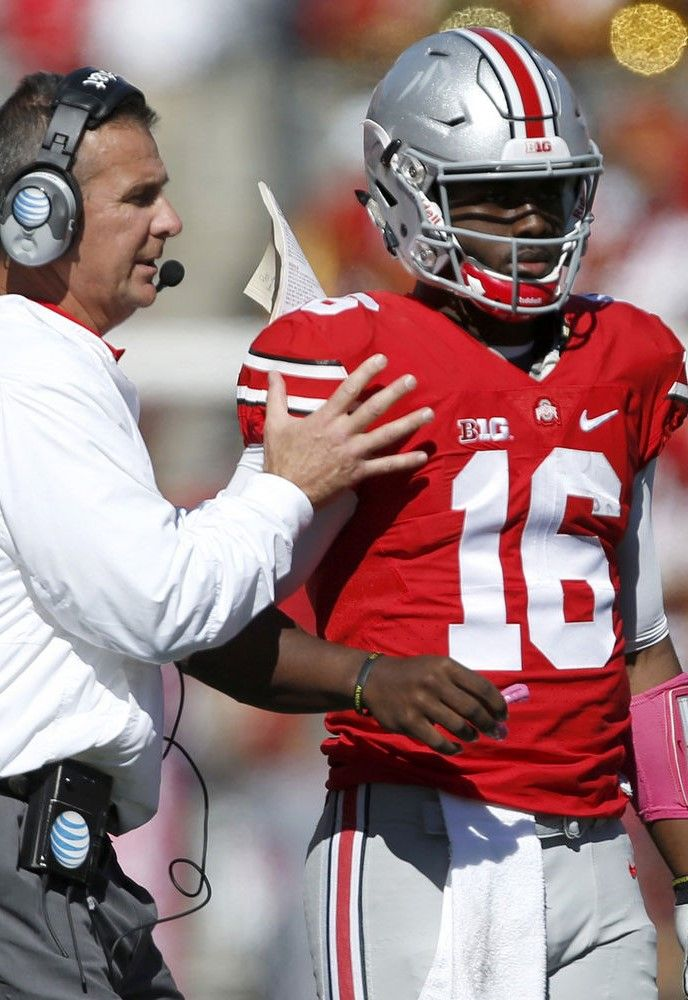 Urban Meyer and J.T. Barrett #16 } Ohio State Football } #Buckeyes #GoBucks