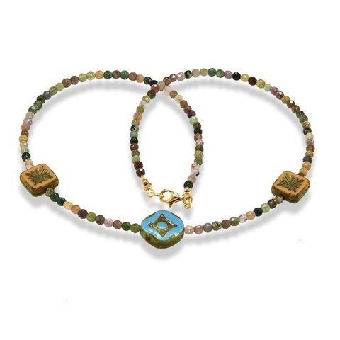 Handmade Gemstone Necklace Multicolor Agate Brown Green - Anthos Crafts - 1