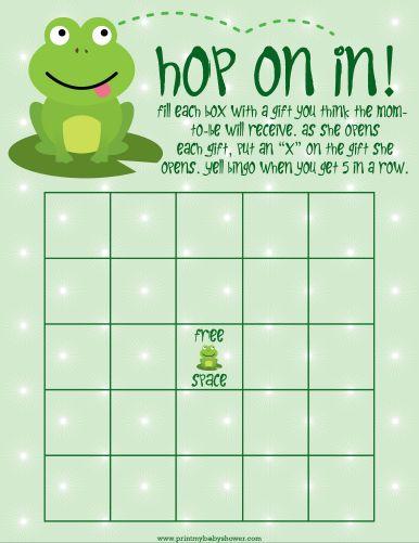 Frog Baby shower Bingo games -  get them all