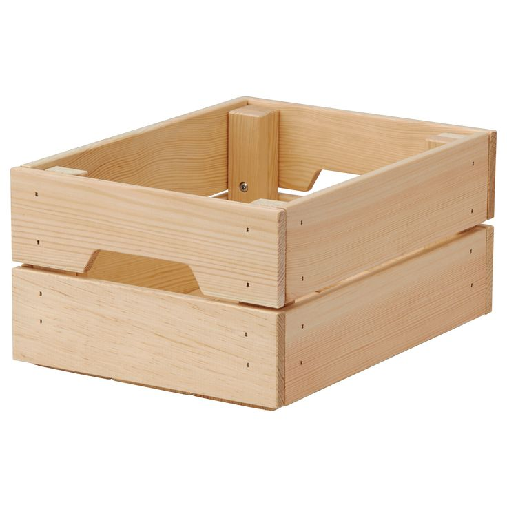 """IKEA - KNAGGLIG, Box, 9x12 ¼x6 """", , Perfect for storing cans and bottles as the box is sturdy.You can save space by stacking two boxes on top of one another.Easy to pull out and lift as the box has handles.Untreated solid pine is a durable natural material that can be painted, oiled or stained according to preference."""