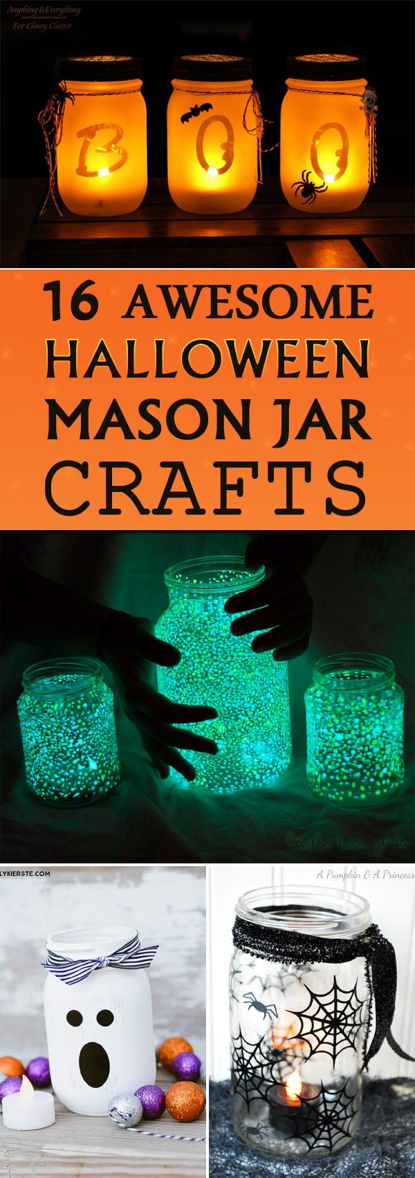 From creepy to spooky to hauntingly pretty, these Halloween mason jar crafts are sure to brighten up your house this holiday season.