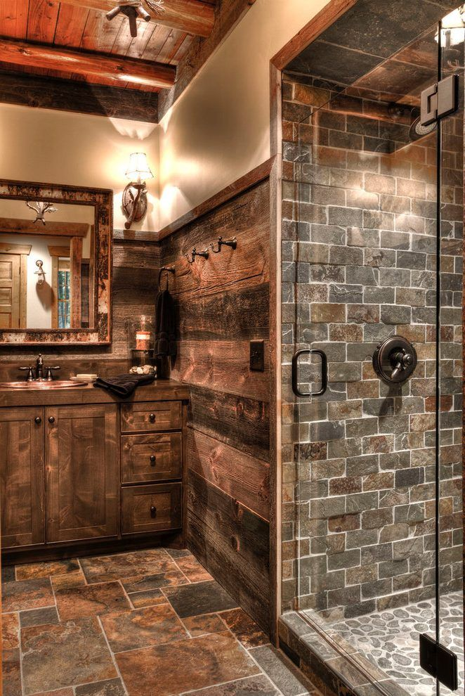 copper slate tile bathroom contemporary with recessed lighting showerheads and body sprays