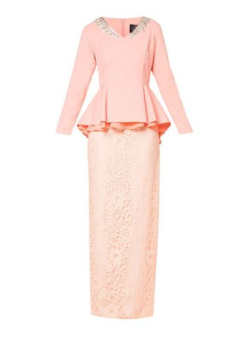 Shila Leaf V Neck Peplum Lace With Skirt by VERCATO