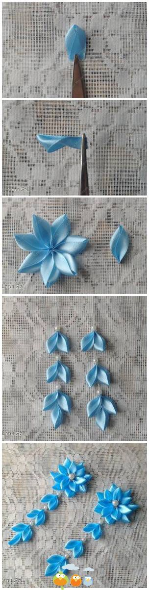 Ribbon Flower diy earrings Easy craft Woman Fashion Tutorial +++ Fotos de como hacer pendientes con cintas en forma de flor de tela