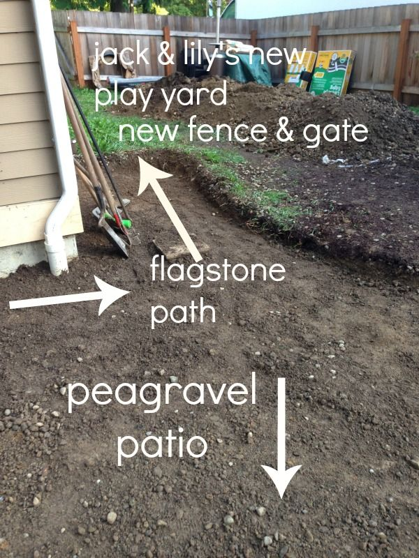 Incorporate a pea gravel patio (under the deck), play yard and dog run into a small backyard.