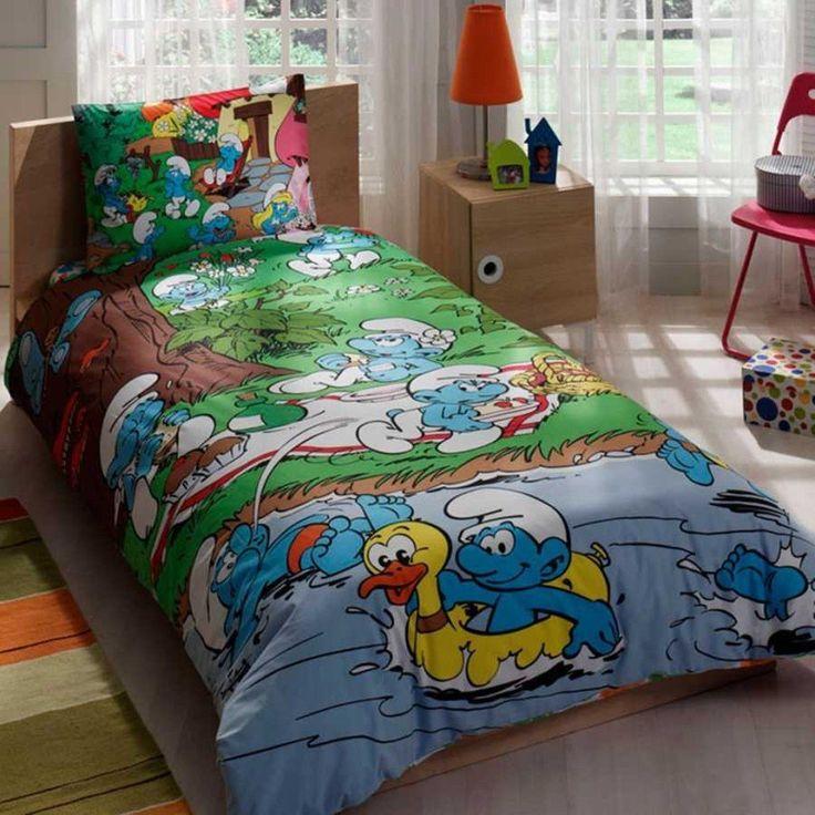 Smurfs Bedding Duvet Cover Set New Licensed 100% Cotton / Disney Smurfs Twin Size Duvet Cover Set / Smurfs Bedding Set 3 PCS //Price: $31.52 & FREE Shipping //     #bedding sets