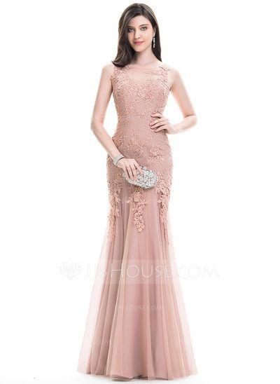[R$ 614.61] Trompete/Sereia Decote redondo Longos Tule Vestido de baile (018112786)