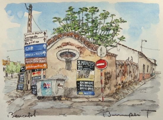 """闘牛の季節到来(Bencatelにて)- 絵画販売・美styleアート""""高橋文平 ヨーロッパの街角から"""""""