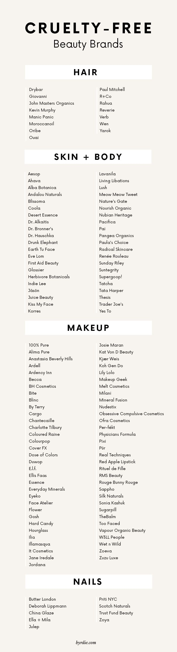//The best cruelty-free beauty brands for hair, skin, makeup and nails.