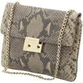 Same MK clutch that I have in the greyish/blue hue, different view. The hardwear on mine is silver.