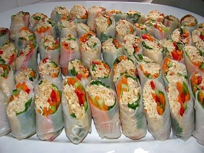 chicken rice paper rolls - so delicious. Flavouring the noodles and chicken enable a flavour hit on every bite!