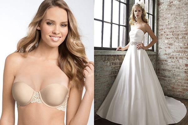 Свадебные платья без бретелек на корсете и туфли к ним