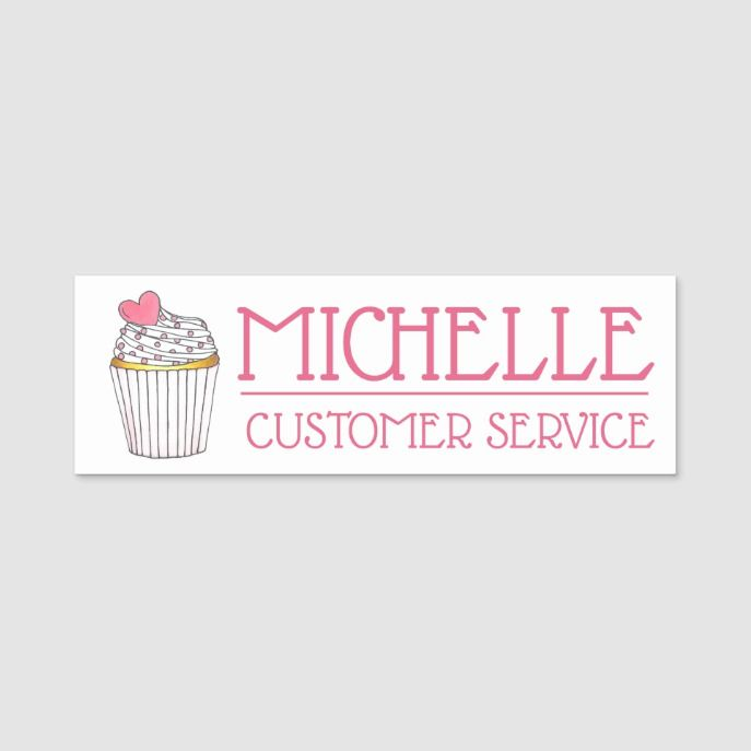 Pink Heart Cupcake Shop Cake Bakery Pastry Chef Name Tag Custom