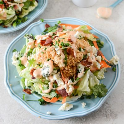 Crunchy Buffalo Chicken Salad with Bacon and Spicy Ranch