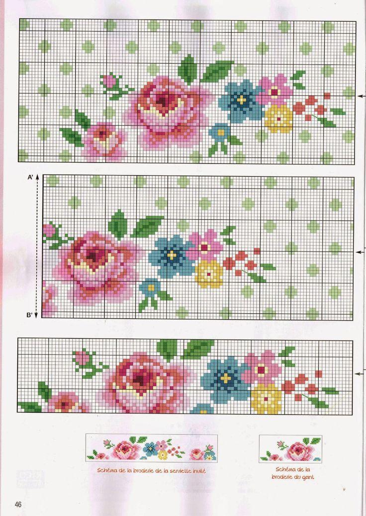 ♥Meus Gráficos De Ponto Cruz♥: Barrado Romântico: Flores Pequenas em Ponto Cruz