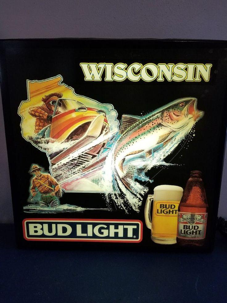 (VTG) 1980s BUD LIGHT BEER WISCONSIN FISHING & SNOWMOBILE LIGHT UP BAR SIGN  | eBay