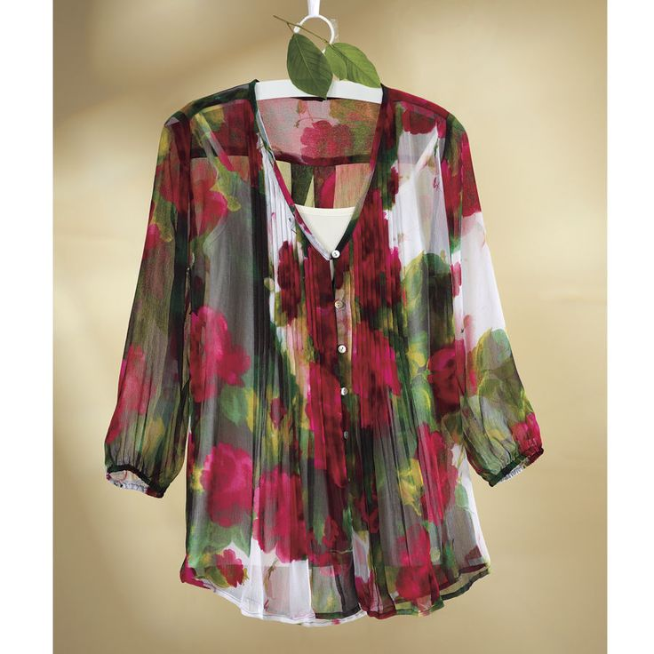 Sheer Rose Garden Blouse - Womens Clothing, Jewelry -3522