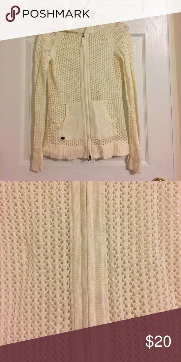 Athleta crochet zip-up sweater (with hood) Cream colored Athleta crochet zip-up sweater (with hood) Athleta Sweaters Cardigans