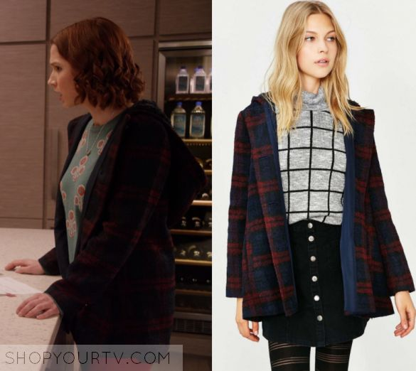 "Unbreakable Kimmy Schmidt: Season 3 Episode 1 Kimmy's Plaid Coat | Shop Your TV Kimmy Schmidt (Ellie Kemper) wears this red and blue plaid coat in this episode of Unbreakable Kimmy Schmidt, ""Kimmy Gets a Divorce!?"".  It is the BB Dakota Kellen Plaid Sherpa-Hood Jacket"
