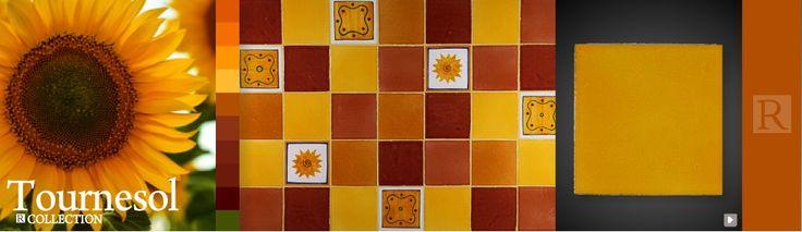 Pour carreler votre plan de travail, crédence de cuisine, sol et mur de salle de bain, la décoratrice des Terres cuites de Raujolles a imaginé pour vous des associations de faïences de couleur. Choisissez votre thème... Tournesol, laissez entrer le soleil !
