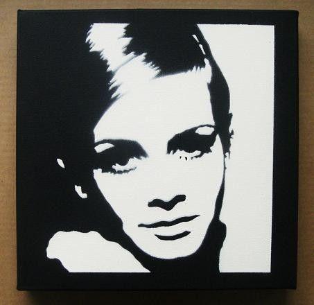 TWIGGY Stencil Graffiti spray paint on canvas pop art by domdoodle, $20.00
