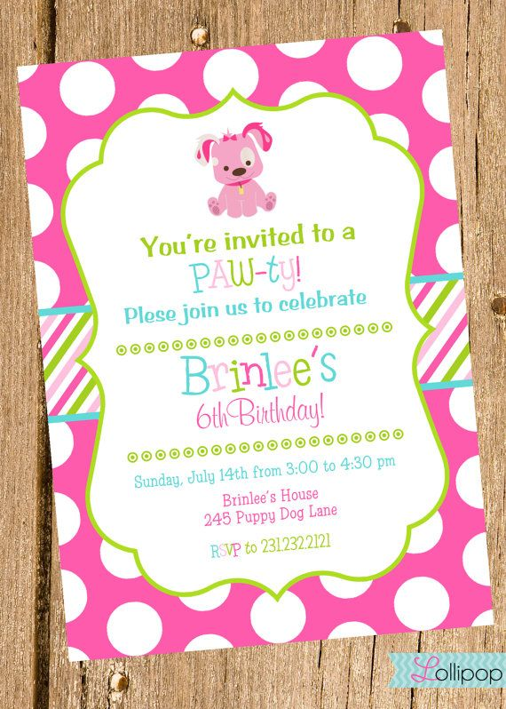 Pink Puppy Printable Invitation, Puppy Dog Personalized Birthday Invite, Pink Blue and Green Puppy Party