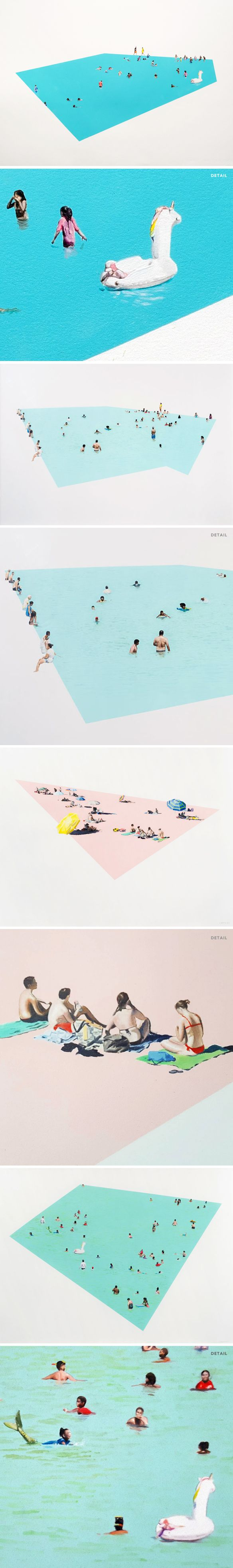 oil paint on paper <3 pools & beaches by kirsten beets