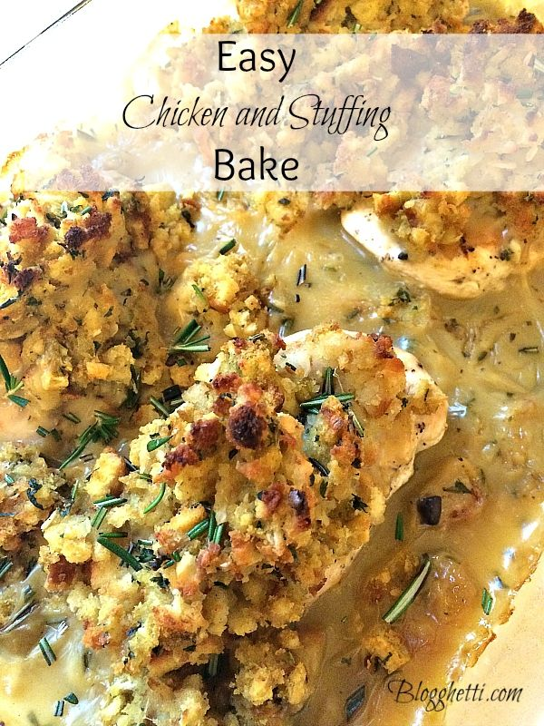 Easy Chicken and Stuffing Bake -Boneless Skinless Chicken Breasts or Thighs.  DIY condensed chicken or mushroom soup link attached.  Bake uncovered 350 degree oven 30 - 45 minutes.