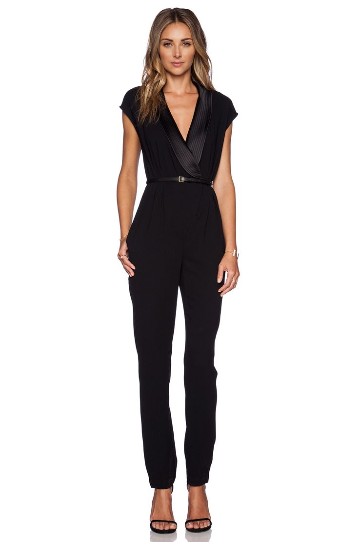 Halston Heritage Draped Jumpsuit in Black | REVOLVE