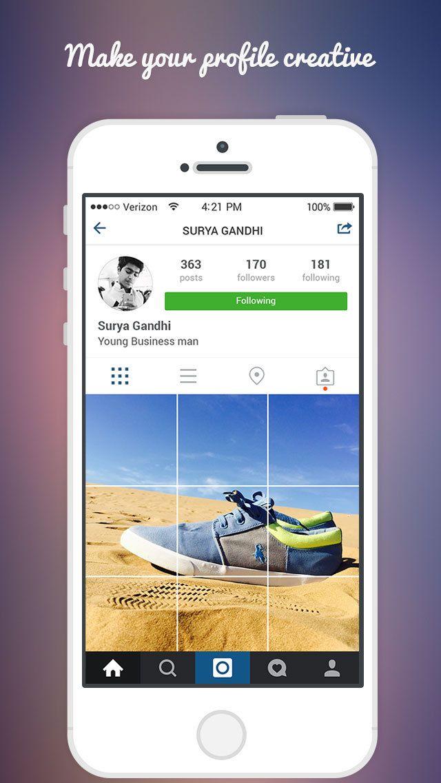 Insta Grid Post - Split Photo Collage Maker & Upload Pic Banner for Instagram (via AppCrawlr)