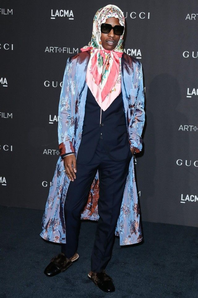f45341a6a6b ASAP Rocky wearing Gucci Leather and Faux Fur Slipper